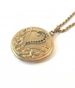 Antique Victorian Rhinestone Paste Photo Locket Necklace Gold Filled Art Nouveau Question Mark Pendant Vintage Jewelry