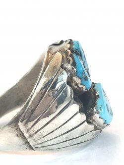 Vintage Navajo Turquoise Sterling Silver Mens Ring Native American Indian Pawn Southwestern Jewelry