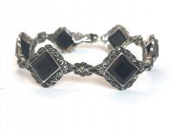 Antique Germany Onyx & Marcasite Sterling Silver Bracelet Art Deco Vintage Jewelry