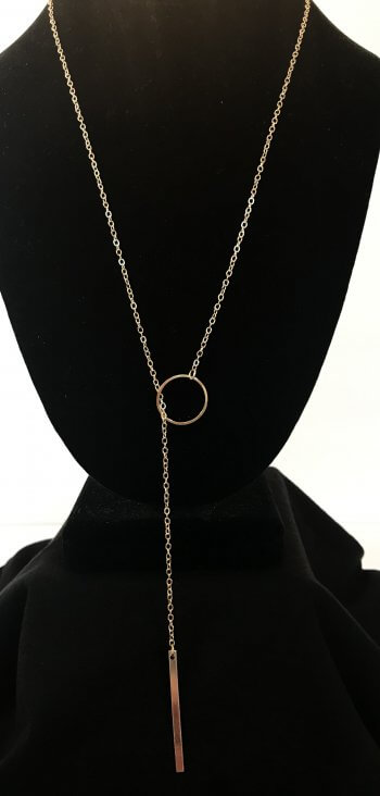 Long Gold Lariat Y Necklace Delicate Simple Layering Chain
