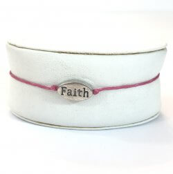 FAITH Pink & Silver Charm Rope Cord Bracelet Simple Delicate Jewelry