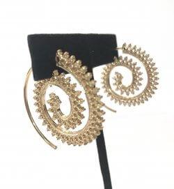 Tribal Gold Swirl Pierced Filigree Hoop Earrings Indian Ethnic Bohemian Jewelry