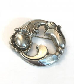 Vintage Georg Jensen LaPaglia Brooch Art Nouveau Sterling Silver Floral Pin Danish Antique Jewelry