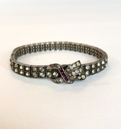Vintage Sterling Silver Rhinestone Paste Buckle Bracelet Antique Estate Jewelry