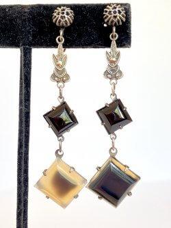 Antique Art Deco Black Onyx Dangle Earrings Marcasite Drops Vintage Estate Jewelry