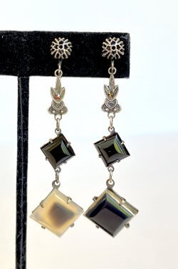 Antique Art Deco Black Onyx Dangle Earrings Marcasite Drops Vintage Estate Jewelry